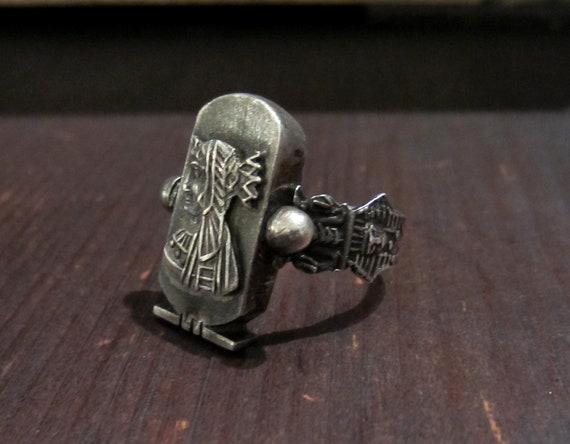 Vintage Ring, Egyptian Revival Pharaoh Ring Sterl… - image 2