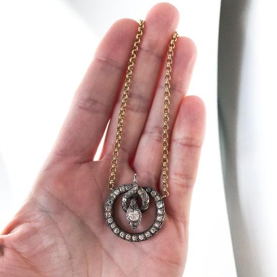 Victorian Foil Back Paste Snake Necklace Silver/1… - image 8