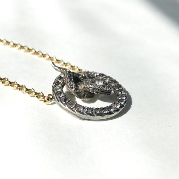 Victorian Foil Back Paste Snake Necklace Silver/1… - image 4