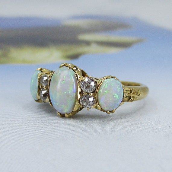 Victorian Opal and Old Mine Diamond Ring 18k c. 1… - image 2