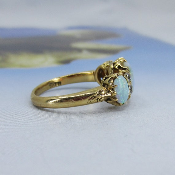 Victorian Opal and Old Mine Diamond Ring 18k c. 1… - image 5