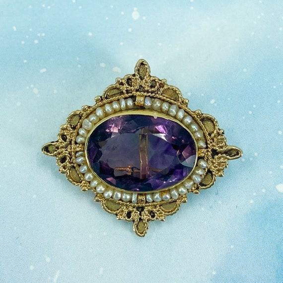 Vintage Brooch, Mid-Century Amethyst and Pearl Br… - image 1
