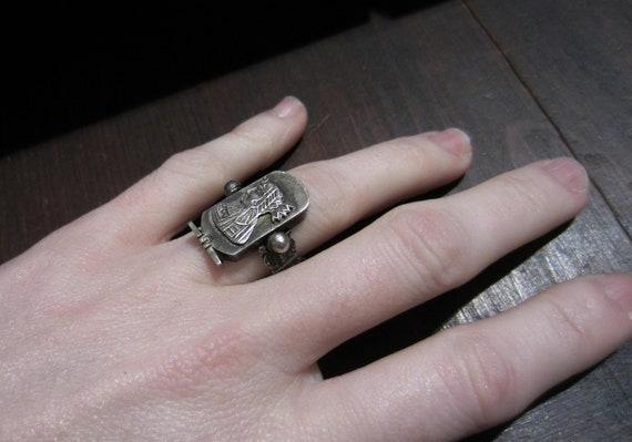 Vintage Ring, Egyptian Revival Pharaoh Ring Sterl… - image 7