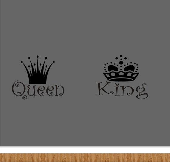 Dame Und König über Das Bett Kopfteil Vinyl Wandtattoo   King Und  Queen Bett Vinyl Aufkleber