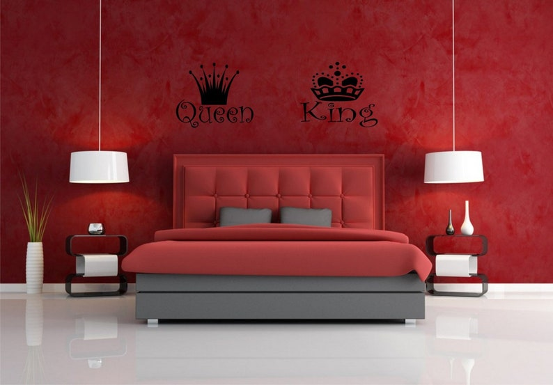 Queen And King Above The Bed Headboard Wall Vinyl Decals Etsy