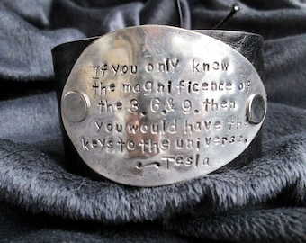 Tesla's Keys to the Universe - upcycled leather cuff-hand stamped silverware jewelry