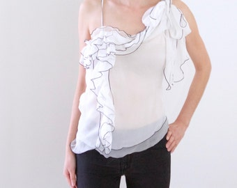 White One-shoulder Silk Top with built in scarf ties