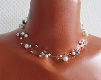 Bridal necklace, real pearls for wedding, crystal and silver, pearls with glitter