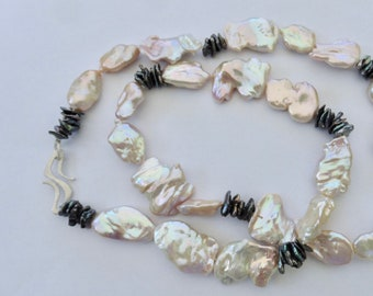 Necklace from big Keshi pearls with best shine, lock forged