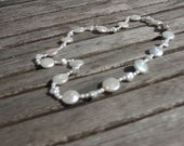 White pearl necklace, bridal jewelry , freshwater pearls Keshi and coins