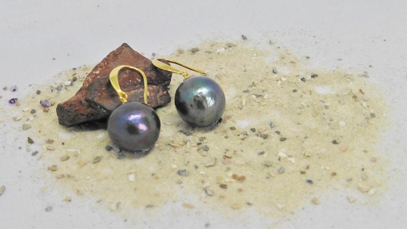 Pearl earrings Edison pearls present women 145 mm black image 0
