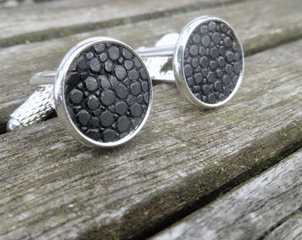 Festive cufflinks with stingray leather unisex 12 mm wedding tango opera ball