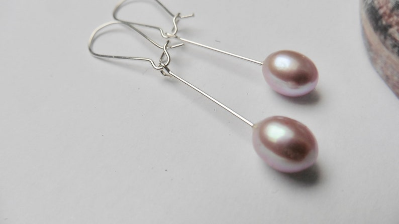Earrings Beads Malve Creoles silver elegant classic Wedding image 0