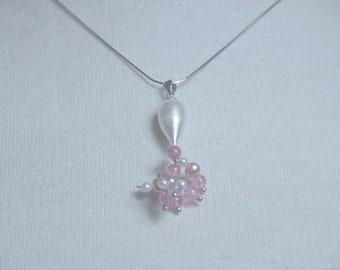 Pearls bride jewelry pendant earrings gold 750