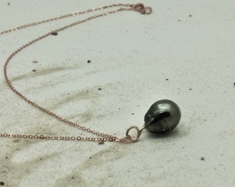 Genuine Tahitian pearl rose gold with necklace, original pendant, charm, lucky charm, talisman