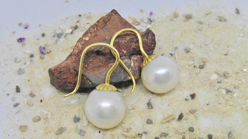 Wedding elegant white pearl earrings 115 mm image 0