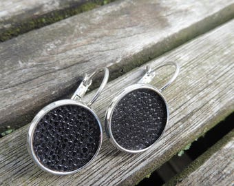 Festive earrings 14 mm made of real stingray leather