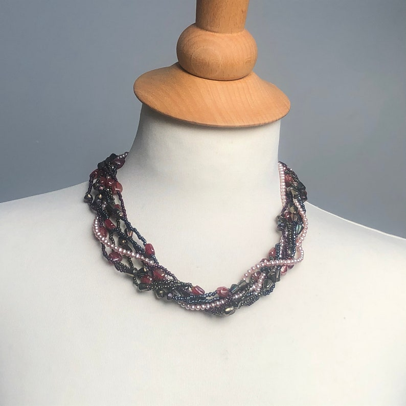 Elegant beaded necklace variations in short long simple or image 0