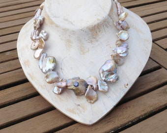 Necklace of very large Keshi pearls with sapphire, striking natural Keshi pearls pink mauve, statement necklace, gift great women