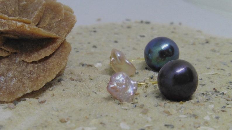 Double Studs Keshi and Edison Bead image 0