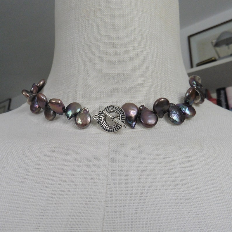 Very decorative beaded necklace coin beadsblack coinsMexican image 0