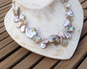 Exciting necklace, real pearl necklace with sapphire, statement striking large natural Keshi pearls pink mauve,
