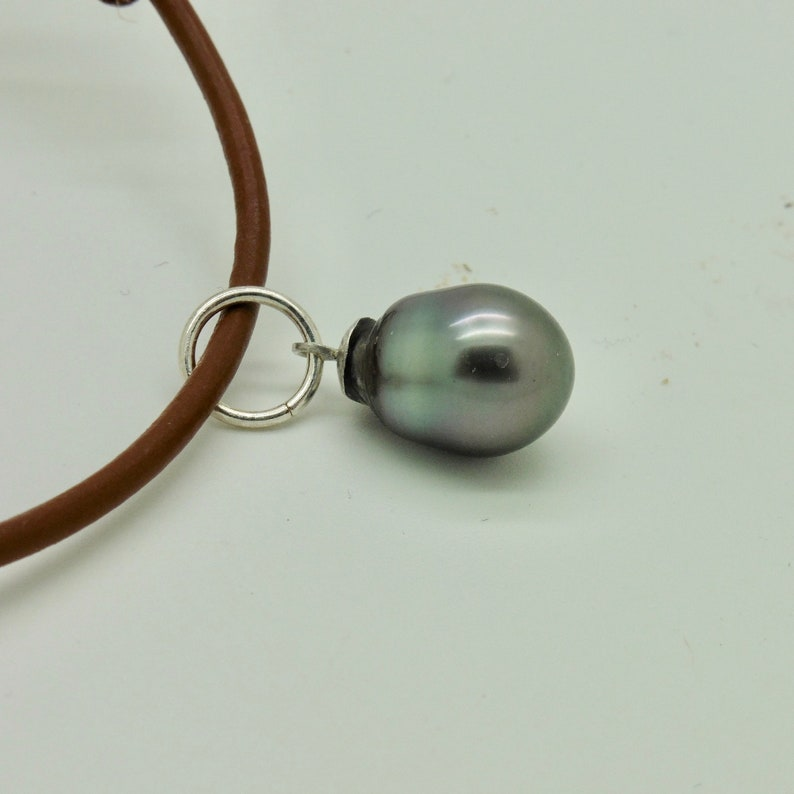 Tahiti pearl chain pendant 10/12 mm on a sporty leather chain image 0