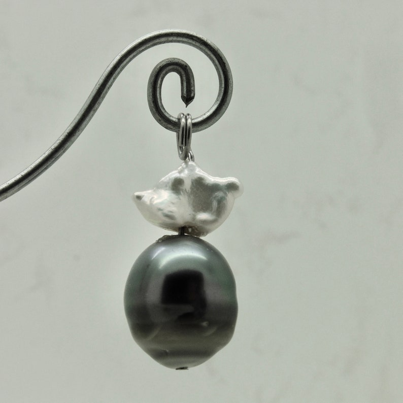 Tahiti and Keshi pearl with silver as chain pendant charm image 0