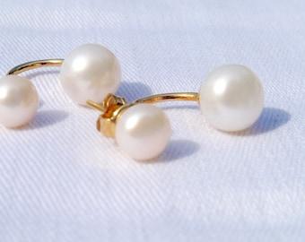Double stud earrings two-in-one 7.5-9 mm