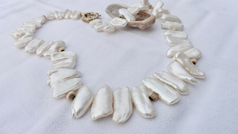 Pearl necklace with 14 K gold best Keshi pearls wedding image 0