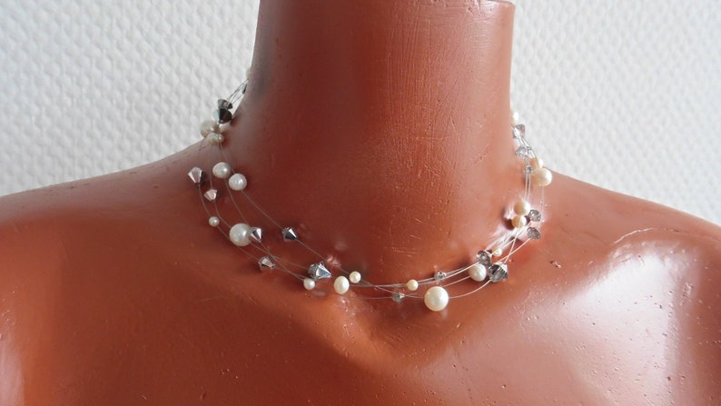 Bridal Necklace real Pearls for Wedding Crystal and Silver image 0