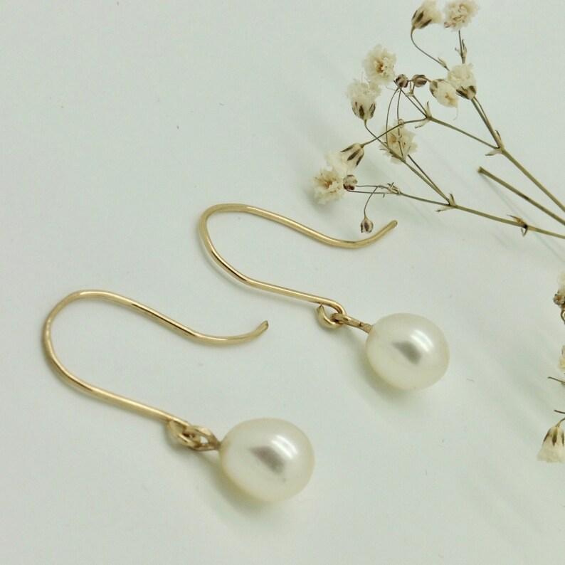 Beaded earrings drop 8.1/9.4 mm white image 0