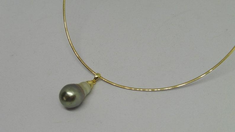 Tahiti pearl pendant 20 x 11 mm drops silver grey natural image 0
