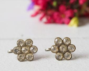 Vintage Floral Earrings/ Vintage Earrings/ Vintage Jewelry/ Earrings/ 1950s Jewelry/ Antique Jewelries/rhinestone Earrings/ Retro Jewelry