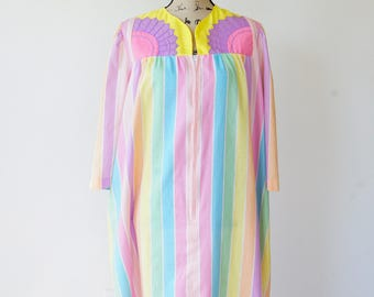 FREE SHIPPING! Vintage Stripe Dress Size L, 1980s Loungewear, Stripe Dress, Vintage Dress, Nightgown, Negligee, Embroidery Dress