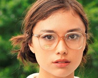 63bad691fa9 Vintage 1990s Eyeglasses Translucent New Old Stock Frames Made In USA by  Univis Eyeglass glasses Hipster Nice color