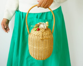 Vintage 1950s Figural Wicker Purse with Fruit and Flower/ Vintage Basket Purse/ Mid Century Bag/ Wicker Bag/ Vintage Purse/ Rattan Handbag