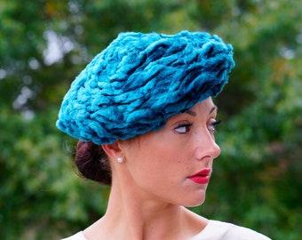 ead621f2e420f Vintage Velvet Beret, Turban Hat, Vintage Beret Hat, Vintage Hat, 1950s Hat,  1960s Beret, Vintage Millinery, Beret Tam, Rockabilly Hat