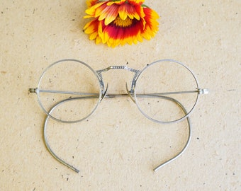 df556e2e240 Vintage Eyeglasses 1920s Spectacles Round eyeglass Frames Glasses 12k 1 10 gold  filled with 10 carat gold nose pads silver frames