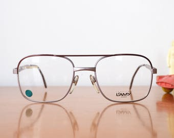 049b2d15ba7 Vintage Eyeglass 1970s Aviators By Lamy Made In France Glasses New Old Stock  frames silver and Brown Toned Color