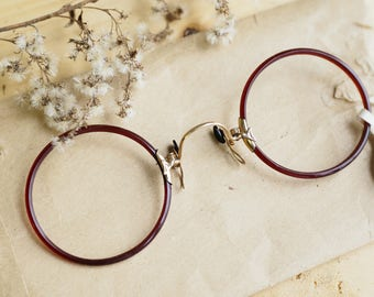 4afa57b1964 Vintage Antique Pince Nez New Old Stock 1900s Gold filled by Shuron Rare  color Gold filled Amazing red toned