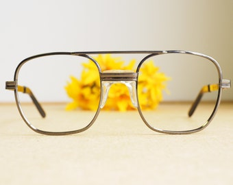 5071fbc14f7 Vintage Eyeglasses 1980s Glasses New Old Stock hipster frames Silver Tone  By Titmus Frames Aviator Style