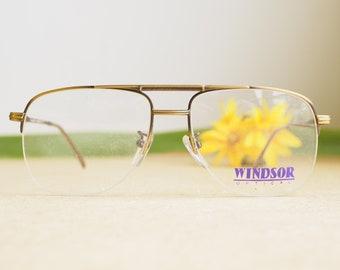ce28dc057140 Vintage Eyeglasses 1980s Glasses New Old Stock hipster Brass tone Made In  Japan Rimless Aviators Frames By Windsor