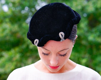 Vintage Black Velvet Half Hat with Pearl a7149083e5d7