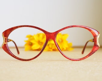 ab11575bc3b Vintage Christian Dior Eyeglasses 1980s Glasses New Old Stock hipster retro  disco frames Oversize Red Tone Frame Made In Austria optyl