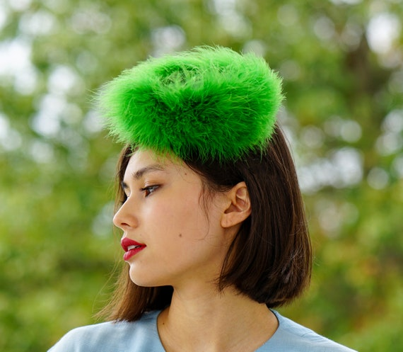 Vintage Marabou Feather Hat Hand Muff Set, 1950s … - image 3