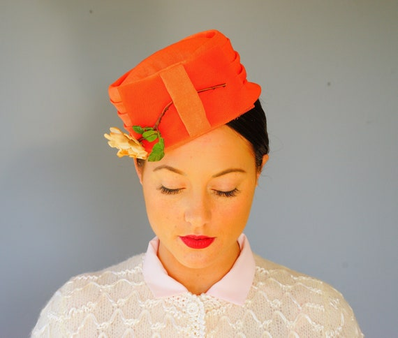 Vintage Floral Pillbox Hat, 1950s Hat, 1960s Hat,