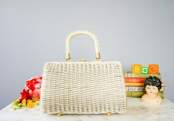 Vintage Wicker Purse/ Woven Basket Purse/ Wicker B