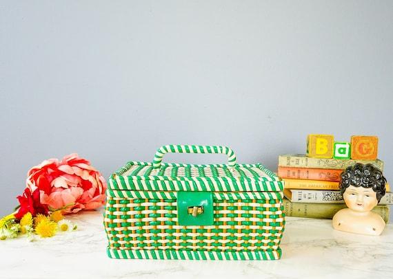 Vintage Wicker Sewing Box/ Vintage Box Purse/ 1950