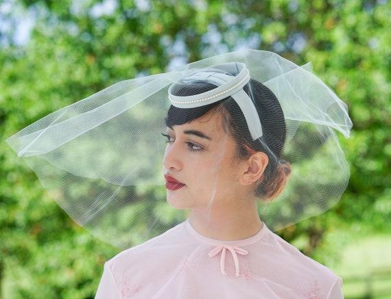 Vintage Faux Pearl Bridal Veil, 1950s Hat, Vintage